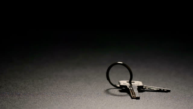 slow motion: keys fall on a floor - chiave video stock e b–roll