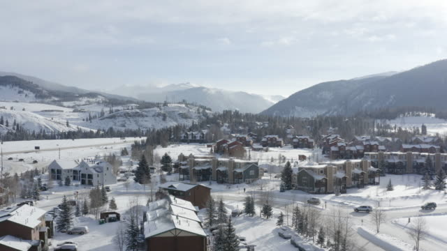 Keystone Colorado Snowy Town Morning Commute Aerial