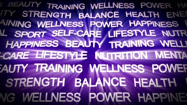 건강 키워드 애니메이션, 렌더링, 배경, 루프 - wellness 스톡 비디오 및 b-롤 화면
