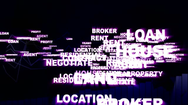 REAL ESTATE Keywords Animation REAL ESTATE Keywords Animation, Rendering, Background, Loop, 4k mortgages and loans stock videos & royalty-free footage
