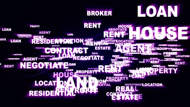 Immobilien Keywords, Rendering, Animation Hintergrund, Schleife – Video