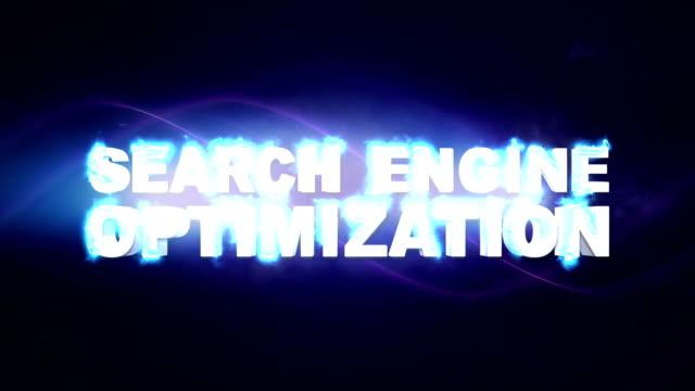 vídeos y material grabado en eventos de stock de seo, search motor optimización, palabras clave textos animación, renderización, fondo, lazo - seo