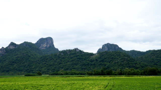 Khao Jeen Lae in cloudy day, big mountain at Lopburi, Thailand video