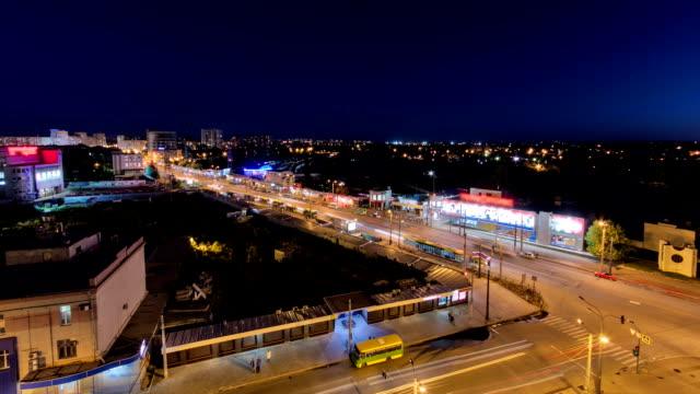 stockvideo's en b-roll-footage met charkov stad from above van dag naar nacht timelapse. oekraïne - kampioenschap