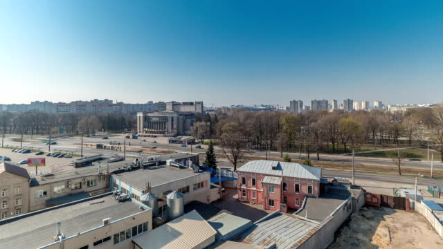 Kharkiv city from above timelapse. Aerial view of the city center and residential districts. Ukraine