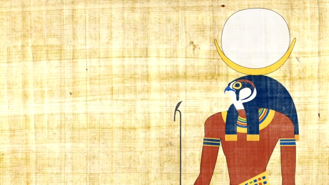 Khonsu el dios egipcio de la luna sobre un fondo papiro - vídeo