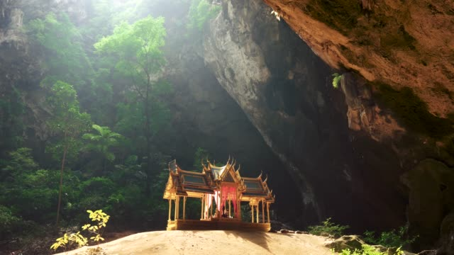 khuha kharuehat pavilion, built for king chulalongkorn (rama v) in phraya nakhon cave, symbol of prachuap khiri khan province, thailand. panning shot - tempio video stock e b–roll