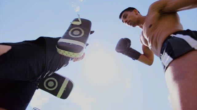 vídeos de stock e filmes b-roll de kick pugilista - boxe tailandês