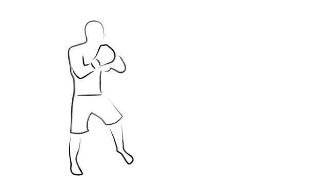 キック ボクシング戦闘機インクを格闘漫画アニメーション - 拳 イラスト点の映像素材/bロール