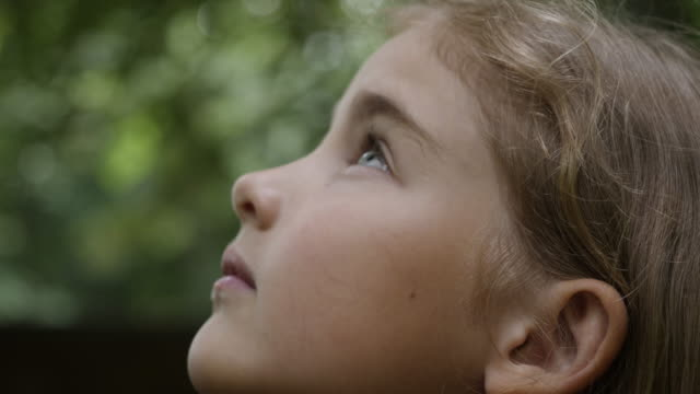 kid looking up at sky in nature. portrait little girl praying looking up at sky with hope and faith, contemplative child face, closeup. girl looks-up god believer prayer, passionate dreamer divine. - onirico video stock e b–roll