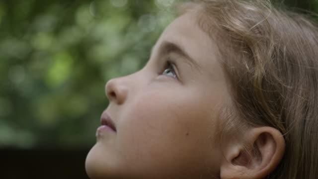 kid looking up at sky in nature. porträt kleine mädchen beten blick auf den himmel mit hoffnung und glauben, kontemplative kind gesicht, nahaufnahme. mädchen schaut gott gläubigen gebet, leidenschaftlichträumer göttlich. - traumhaft stock-videos und b-roll-filmmaterial