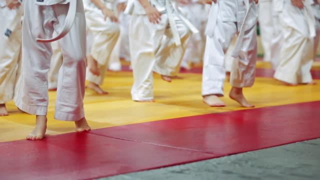 Kids at martial arts training
