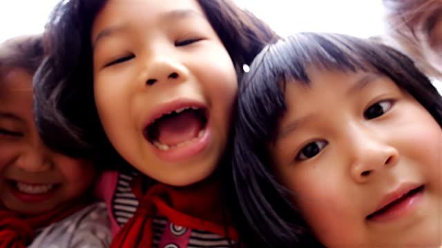 kids close up to camera video
