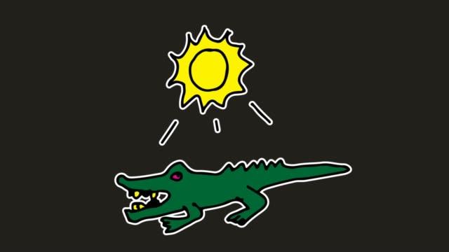 barnen rita svart bakgrund med tema av krokodil - animal doodle bildbanksvideor och videomaterial från bakom kulisserna