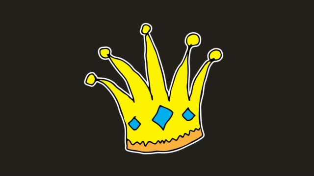 vidéos et rushes de enfants dessinant le fond noir avec le thème de la couronne - couronne reine