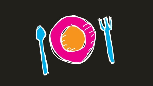 kids drawing black background with theme of cutlery plate - icona posate video stock e b–roll