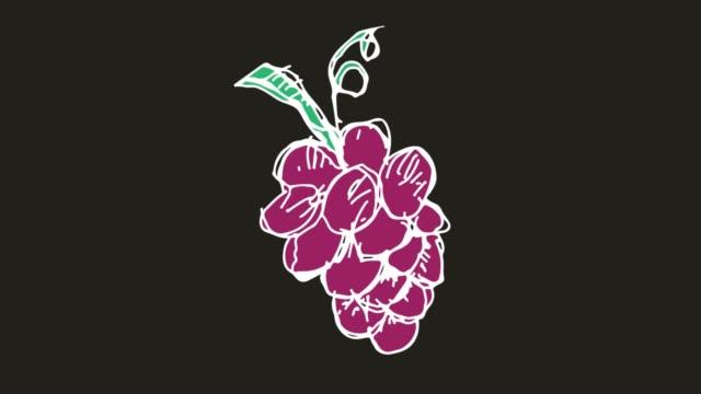 ブドウのテーマと黒の背景を描く子供たち - ぶどう イラスト点の映像素材/bロール