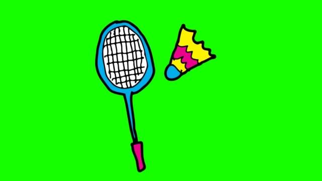 Enfants dessinant le fond vert avec le thème du badminton - Vidéo