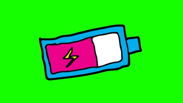 kids drawing green background with theme of battery icon - lightning стоковые видео и кадры b-roll