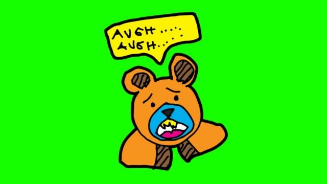 barnen rita grön bakgrund med tema av björn - animal doodle bildbanksvideor och videomaterial från bakom kulisserna
