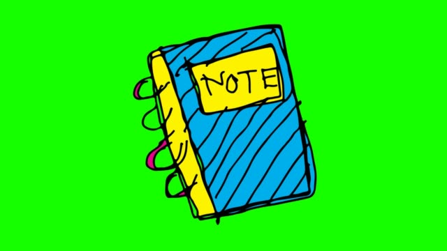 Kids drawing green Background with theme of book note