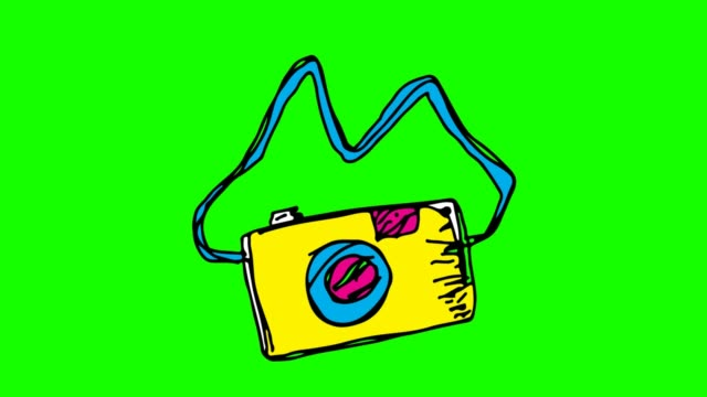 Kids drawing green Background with theme of camera