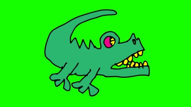 barnen ritade grön bakgrund med tema av krokodil - animal doodle bildbanksvideor och videomaterial från bakom kulisserna