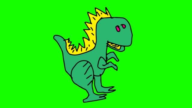 barnen rita grön bakgrund med tema dinosaurier - tyrannosaurus rex bildbanksvideor och videomaterial från bakom kulisserna