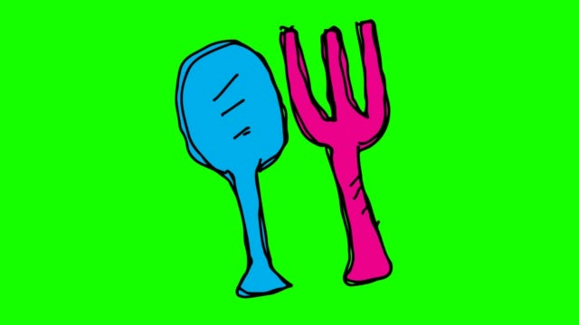 kids drawing green background with theme of fork spoon - icona posate video stock e b–roll