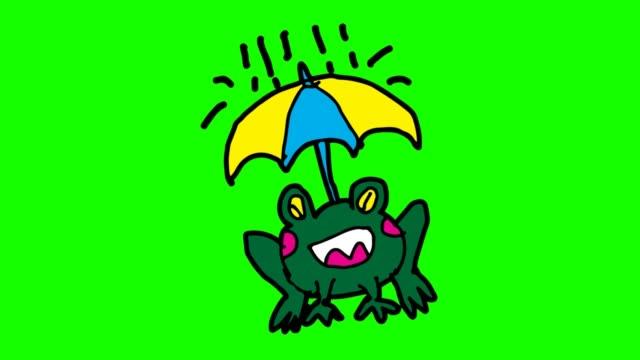 barnen ritade grön bakgrund med tema av grodor och regn - animal doodle bildbanksvideor och videomaterial från bakom kulisserna