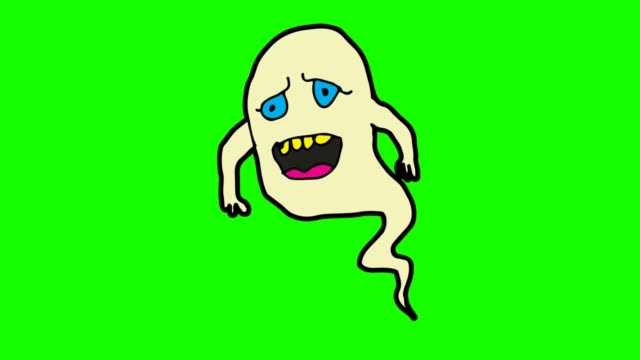 Kids drawing green Background with theme of ghost Kids drawing animation for ghost ghost icon stock videos & royalty-free footage