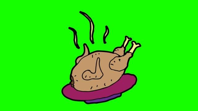 barn ritning grön bakgrund med temat grillad kyckling - animal doodle bildbanksvideor och videomaterial från bakom kulisserna