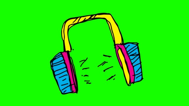 Kids drawing green Background with theme of head phone Kids drawing black Background with theme of head phone ear stock videos & royalty-free footage
