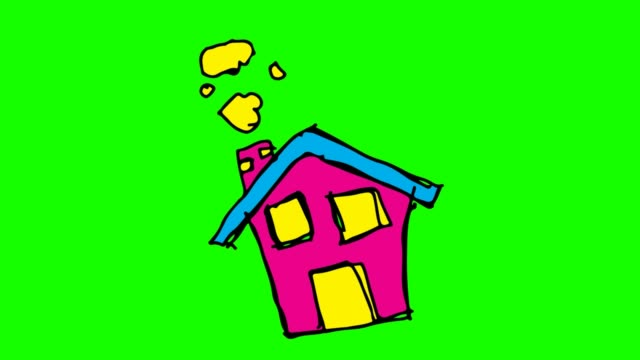 vídeos de stock e filmes b-roll de kids drawing green background with theme of house - house garage