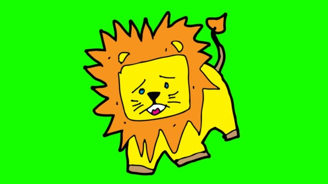kids drawing green background with theme of lion - criniera video stock e b–roll