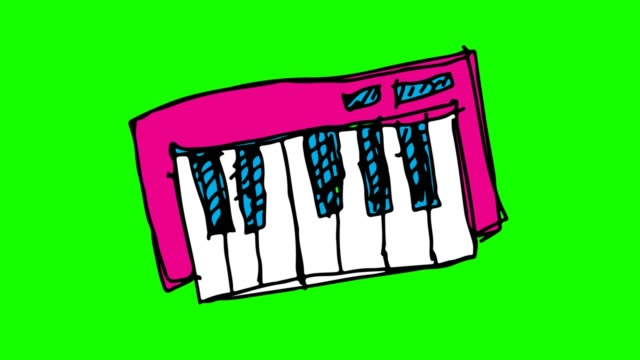 vídeos de stock e filmes b-roll de kids drawing green background with theme of piano - piano