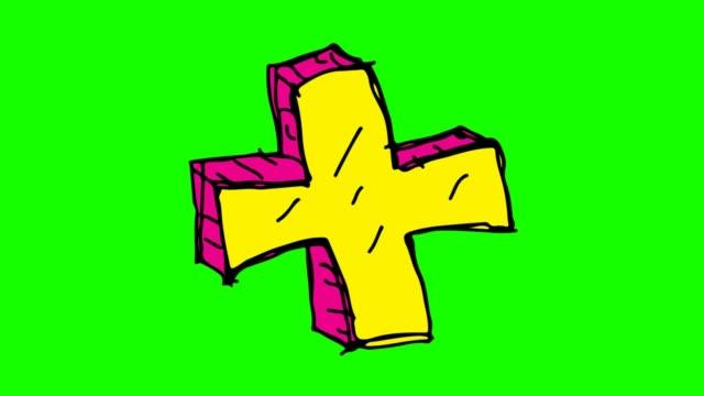 barnen rita grön bakgrund med tema av plustecknet - korsform bildbanksvideor och videomaterial från bakom kulisserna