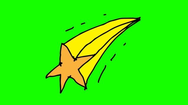 슈팅 스타의 테마와 함께 녹색 배경 그리기 아이 - 유성 스톡 비디오 및 b-롤 화면
