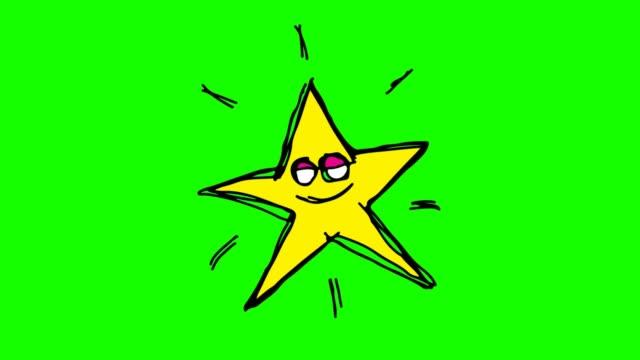 barnen ritade grön bakgrund med tema star - animal doodle bildbanksvideor och videomaterial från bakom kulisserna