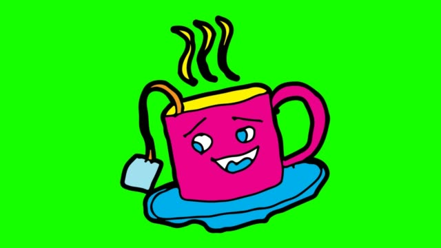 kids drawing green background with theme of tea - tea cup stock videos & royalty-free footage