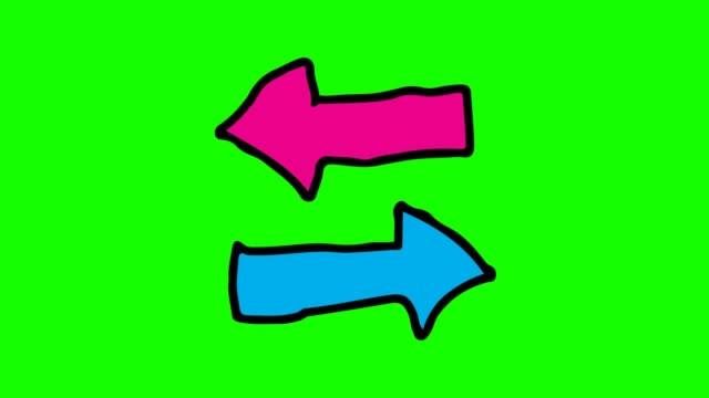 yeşil arka plan tema iki yönlü ok ile çizim çocuklar - arrows stok videoları ve detay görüntü çekimi