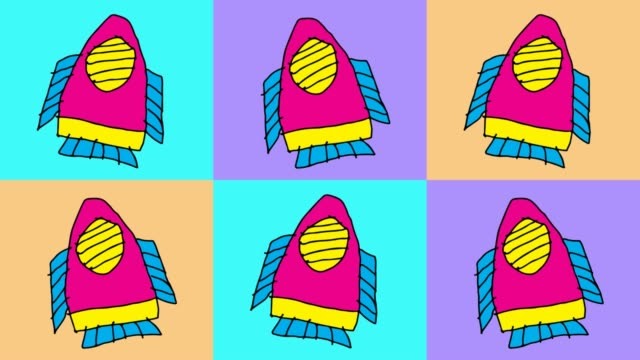 kids drawing pop art seamless background with theme of rocket