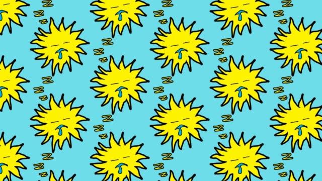 stockvideo's en b-roll-footage met kinderen tekenen popart naadloze achtergrond met thema van zon - sleeping illustration