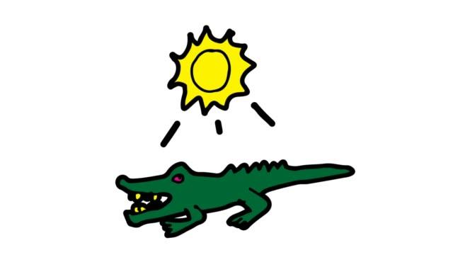 barn ritar vit bakgrund med tema av krokodil - animal doodle bildbanksvideor och videomaterial från bakom kulisserna