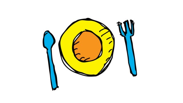 kids drawing white background with theme of cutlery plate - icona posate video stock e b–roll