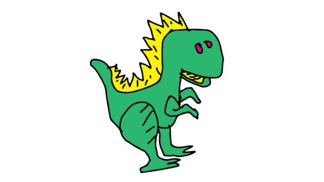barn ritar vit bakgrund med tema dinosaurier - tyrannosaurus rex bildbanksvideor och videomaterial från bakom kulisserna