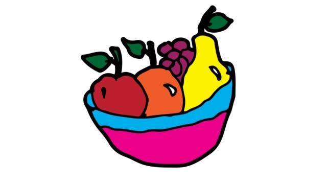 子供たちの果物をテーマにした白背景を描画 - ぶどう イラスト点の映像素材/bロール