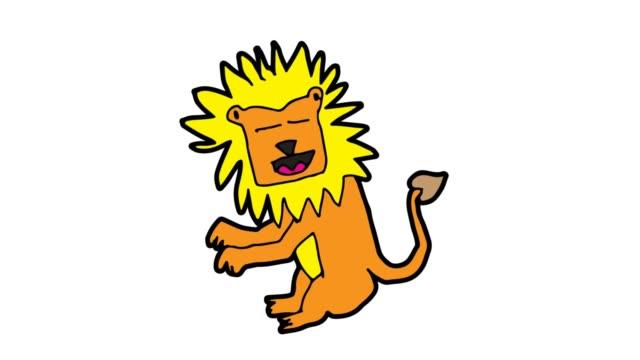 barn ritning vit bakgrund med temat lejon - animal doodle bildbanksvideor och videomaterial från bakom kulisserna
