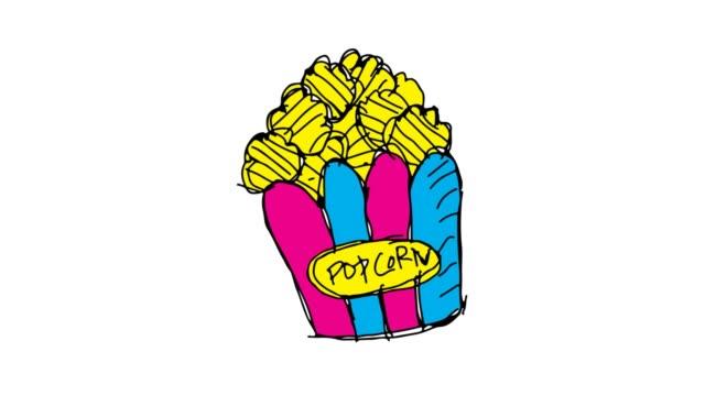 vídeos de stock, filmes e b-roll de crianças, desenho de fundo branco com tema da pipoca - balde pipoca
