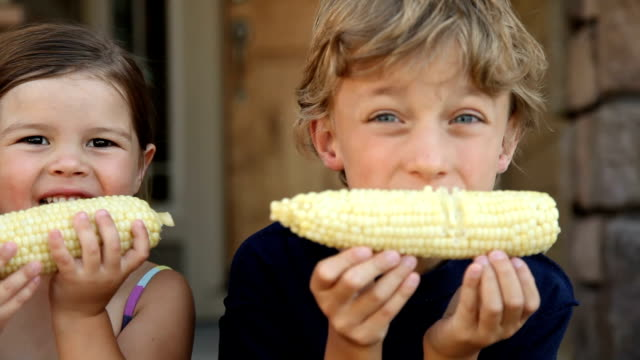 Kids eating corn on the cob HD 1080p: Kids eating corn on the cob cousin stock videos & royalty-free footage
